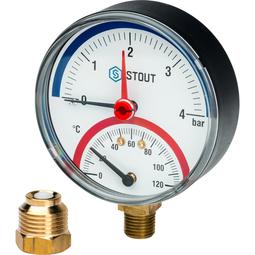 Термоманометр радиальный в комплекте с автоматическим запорным клапаном SIM-0006-800415